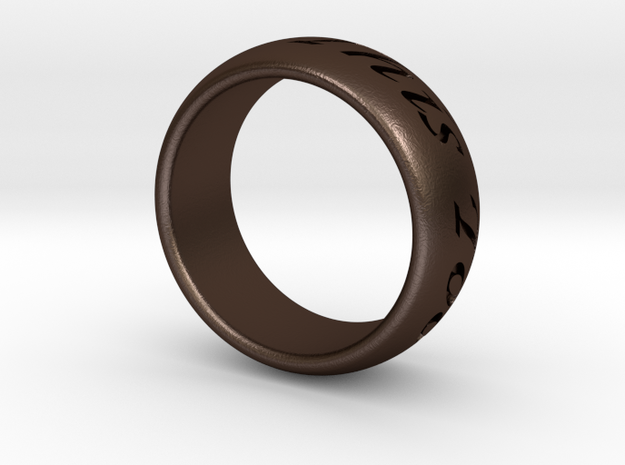 Custom Ring Outside Inscription  in Matte Bronze Steel
