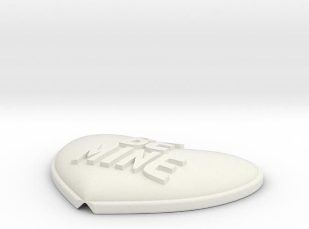 Heart Pendant Insert - BE MINE in White Natural Versatile Plastic