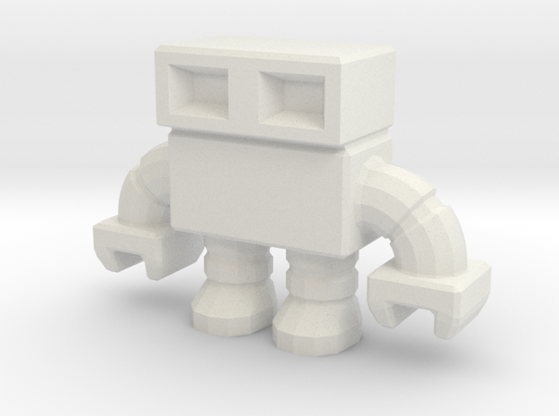 robot 0013, with hollow feet in White Natural Versatile Plastic