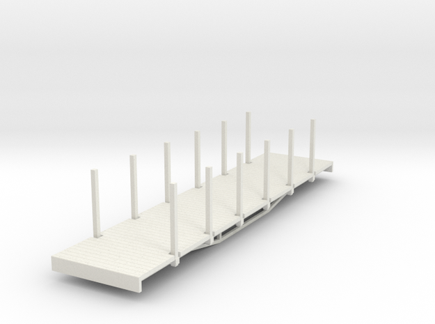 OO9 bogie flat with stakes (long) 3d printed