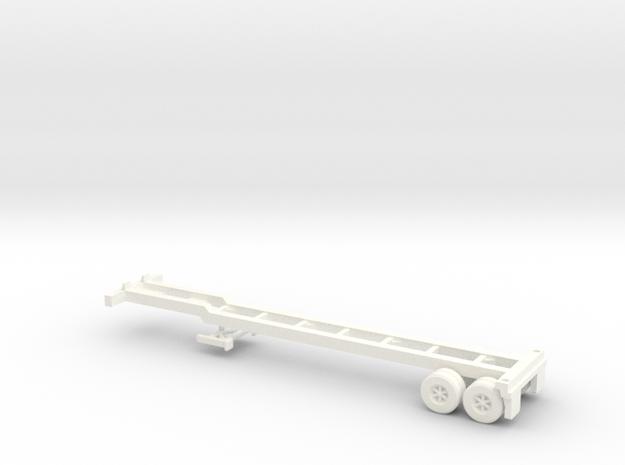 Z Scale Intermodal Trailer Chassis in White Processed Versatile Plastic