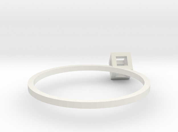 Cube Wireframe Ring in White Strong & Flexible