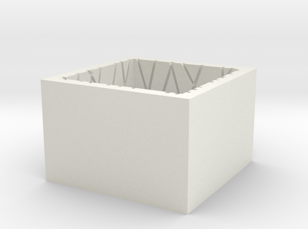 SquareRing CrisCross 19mmx15mm in White Natural Versatile Plastic