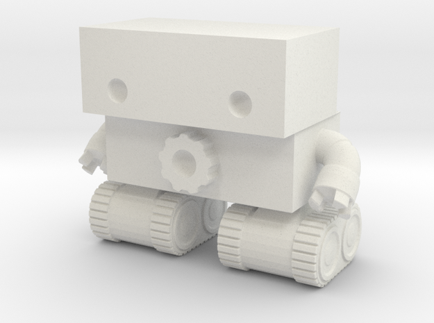 Robot 0025 Tank Tread Bot With Cog And Hands in White Strong & Flexible