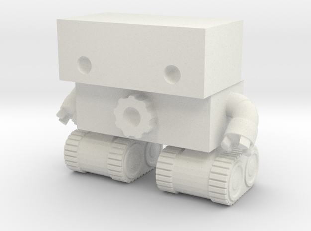 Robot 0025 Tank Tread Bot With Cog And Hands 2.5 t in White Natural Versatile Plastic