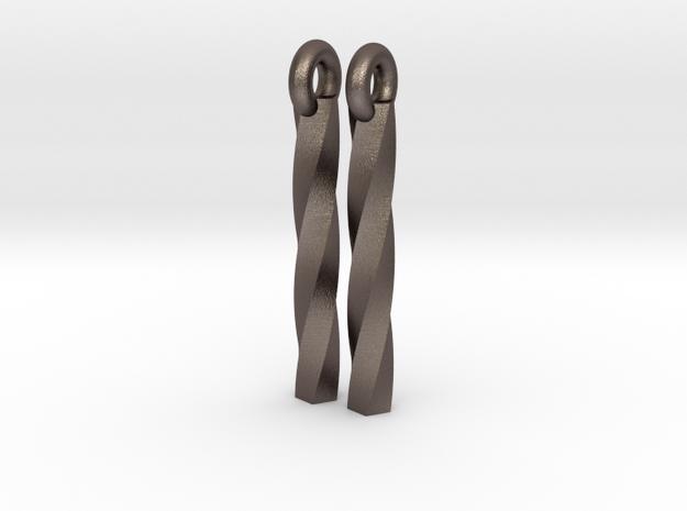 twist earrings in Polished Bronzed Silver Steel
