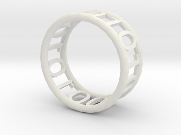 Binary ring in White Natural Versatile Plastic