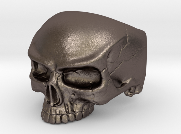 Ring HalfSkull Size 9.5 in Polished Bronzed Silver Steel