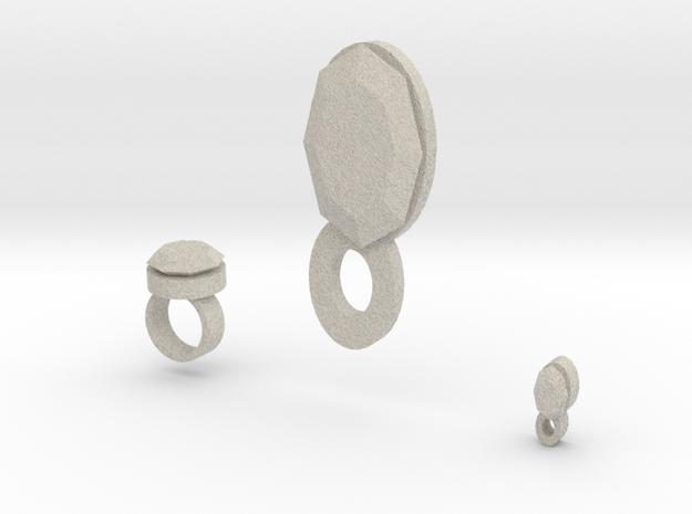 Lara  ring Bracelet Charm And Pendant 3d printed