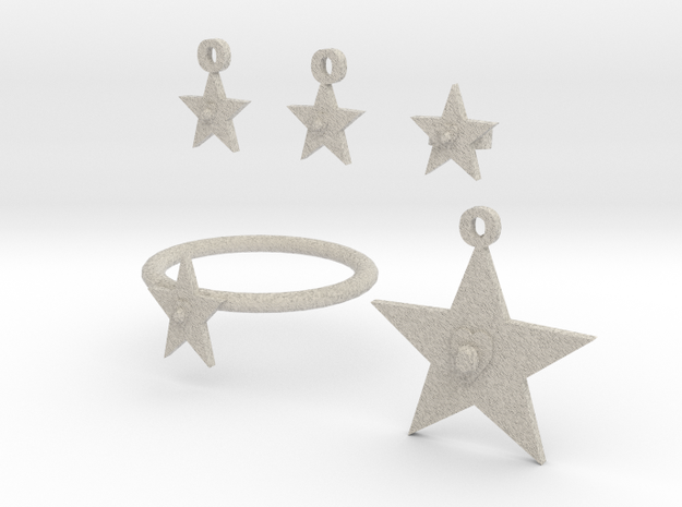 Heart Of The Star Jewelry Set 3d printed