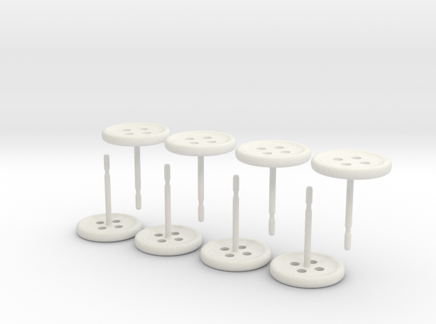 Button Earrings, 4 Pair 3d printed