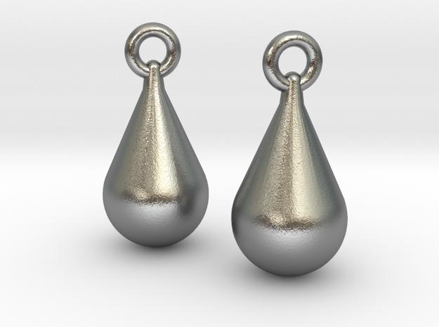 teardrop earrings in Natural Silver