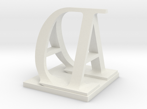 Two way letter / initial A&D in White Natural Versatile Plastic