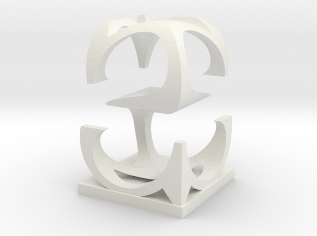 Two way letter / initial S&S in White Natural Versatile Plastic