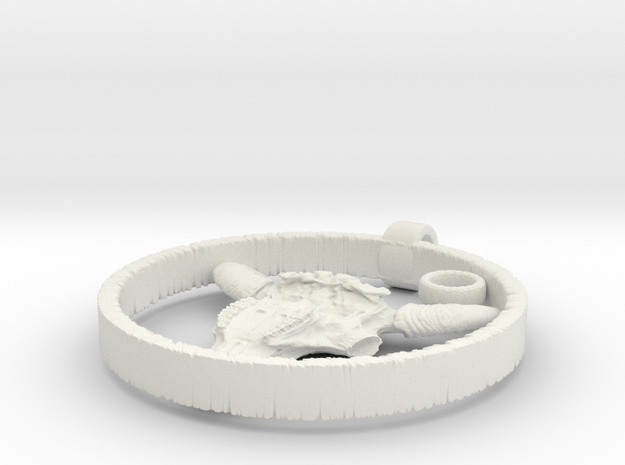 Bison Skull Charm in White Natural Versatile Plastic