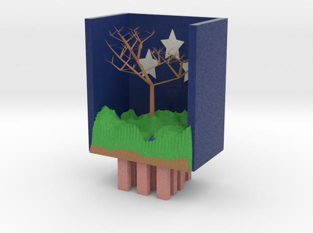 Night In The Mountains With Great Tree larger 3d printed