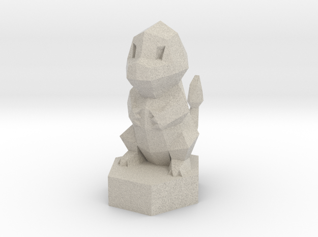 Low-poly Charmander On Stand in Sandstone