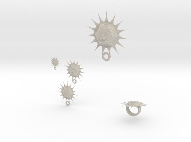 sun heart jewelry set 3d printed