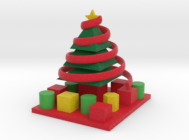decorated tree with presents 3d printed