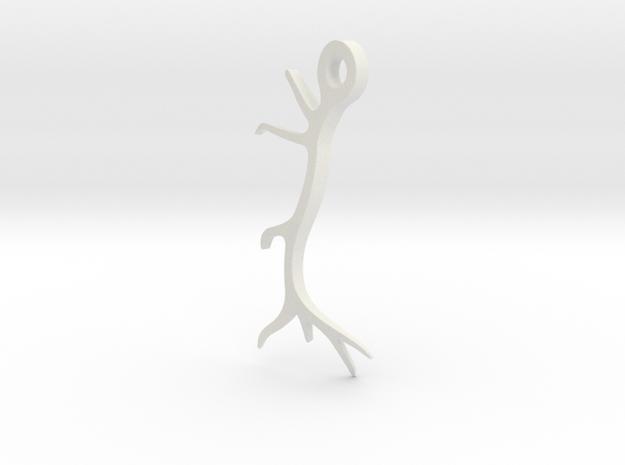 Antler Pendant Flat in White Natural Versatile Plastic