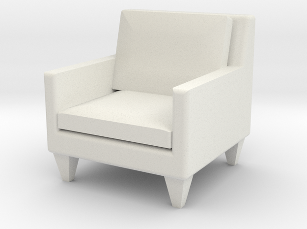 1:24 Contemporary Club Chair in White Natural Versatile Plastic