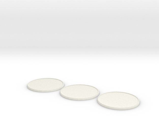 Round Model Base 60mm X3 in White Natural Versatile Plastic