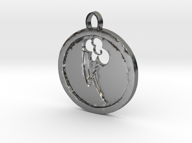 Rainbow dash mlp cutie mark pendant in Polished Silver