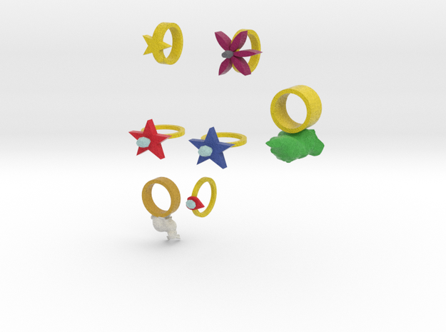 Assorted Rings version 2 3d printed