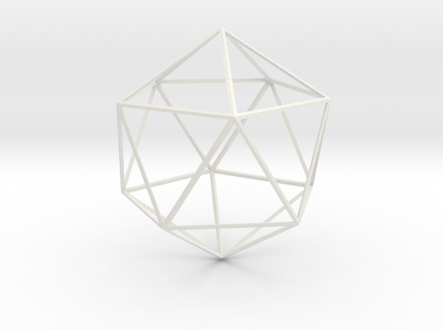 Wireframe Sphere in White Natural Versatile Plastic