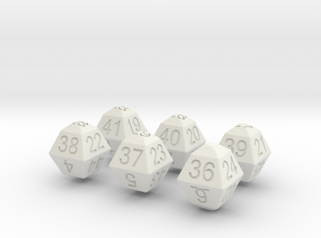 Lotto Dice(6x53) in White Natural Versatile Plastic