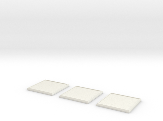 Square Model Base 40mm X3 in White Natural Versatile Plastic