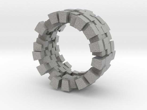 Cubic ring in Metallic Plastic