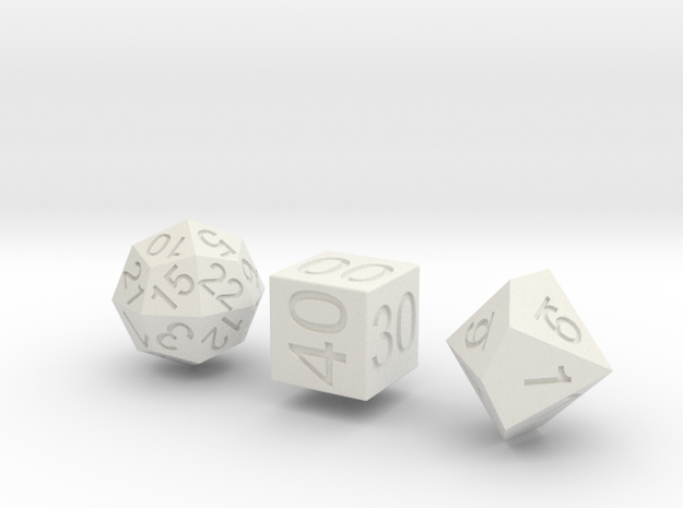 Time Dice in White Natural Versatile Plastic