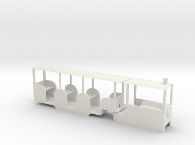 Miniature Railway Railcar 1:29th on 9mm in White Natural Versatile Plastic