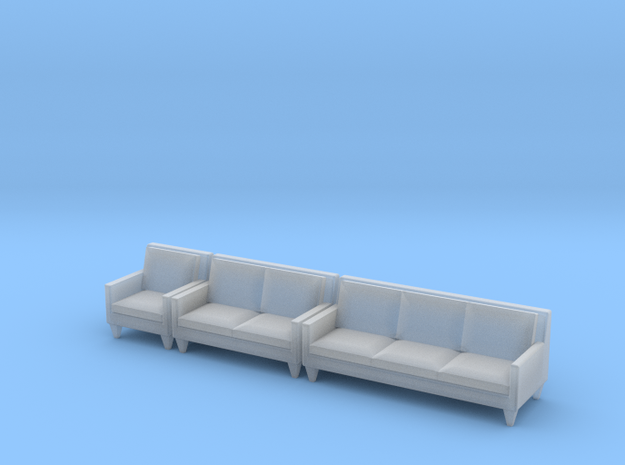 1:48 Contemporary Living Room Set in Frosted Ultra Detail