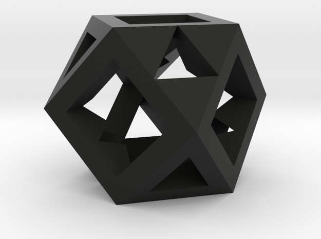 Cuboctahedron -- drilled with tetrahedral symmetry in Black Natural Versatile Plastic