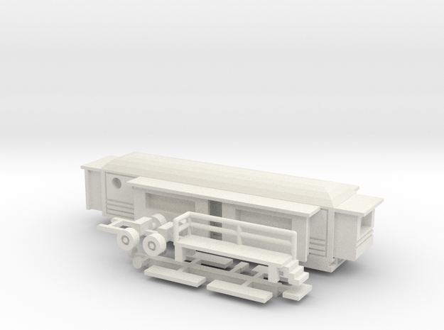 Wohnwagen rundes Dach 2 - 1:220 (z scale) in White Strong & Flexible