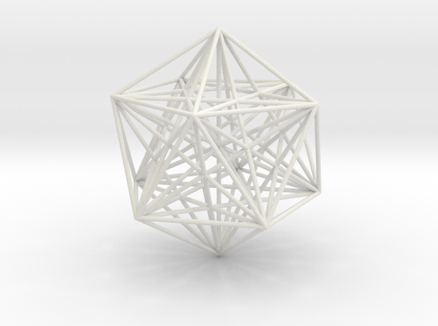 Sacred Geometry: Icosahedron with Stellated Dodeca in White Natural Versatile Plastic