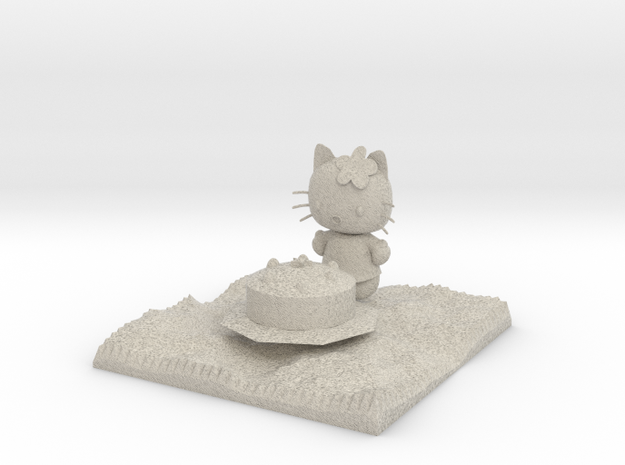 Hello Kitty With Cake  3d printed
