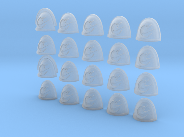 20 28mm Shoulder Pad Custom Falcon Moon in Smooth Fine Detail Plastic