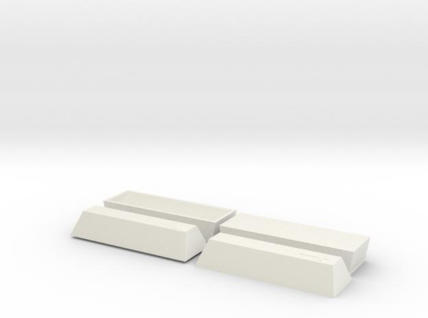 2 Coffin, TT, 1:120 in White Natural Versatile Plastic