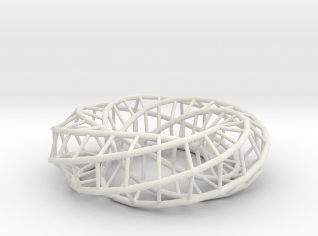 Moebius hexagon | Napkin Ring in White Natural Versatile Plastic