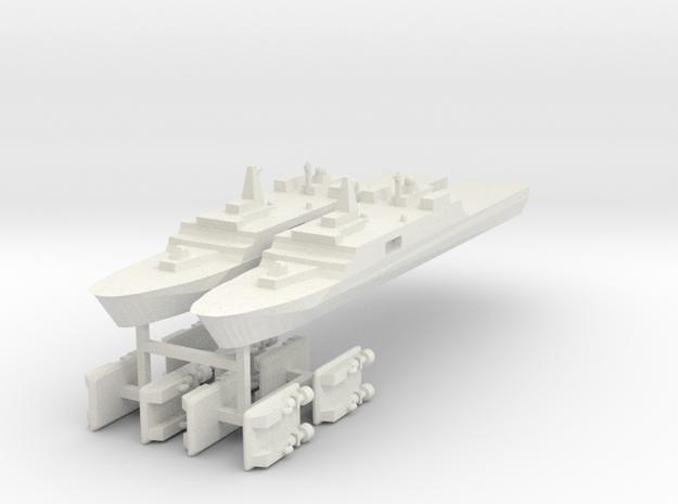 071 PLAN Amphibious Dock V2 + LCACs 1:3000 x2 in White Natural Versatile Plastic