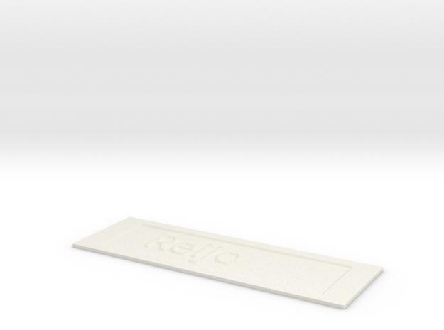 by kelecrea, engraved:    Reijo in White Natural Versatile Plastic