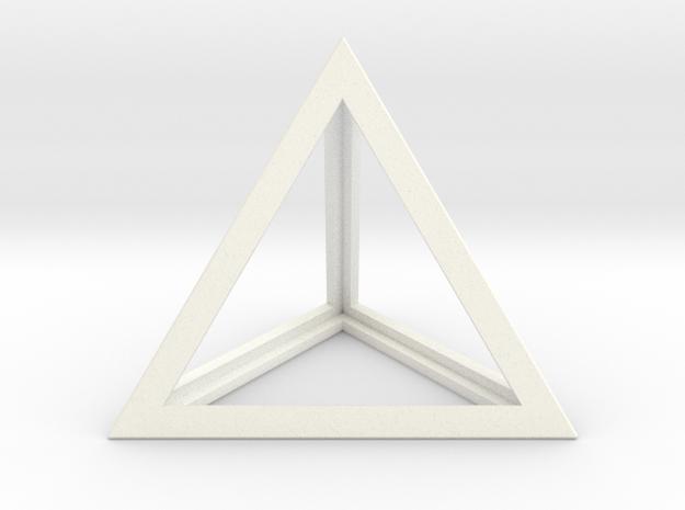 Tetrahedron in White Processed Versatile Plastic