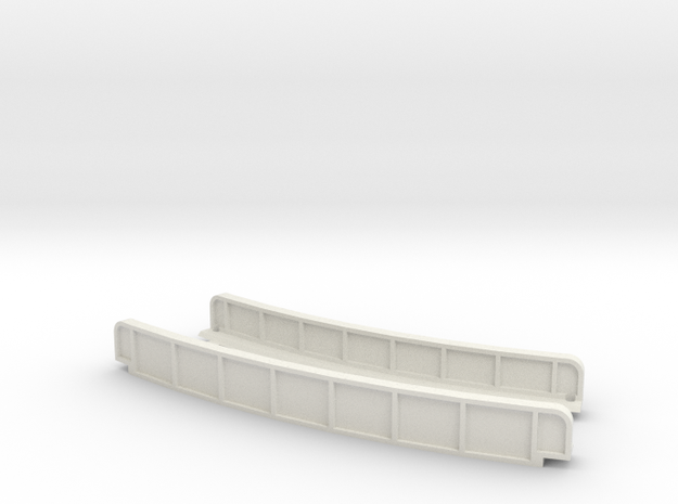 CURVED 195mm 30° SINGLE TRACK VIADUCT in White Natural Versatile Plastic