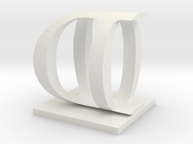 Two way letter / initial O&D in White Natural Versatile Plastic