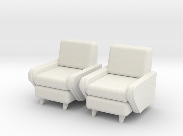 1:36 Moderne Club Chair in White Natural Versatile Plastic