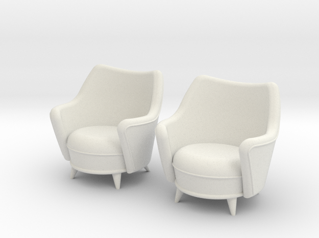 1:36 Moderne Tub Chair in White Natural Versatile Plastic