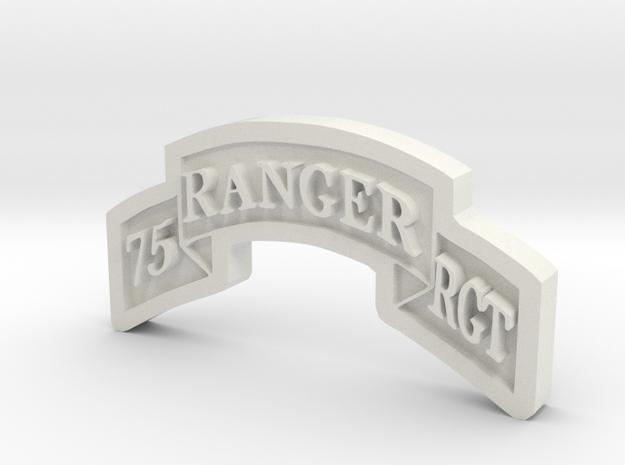 Ranger Scroll (75th Ranger RGMT) in White Natural Versatile Plastic